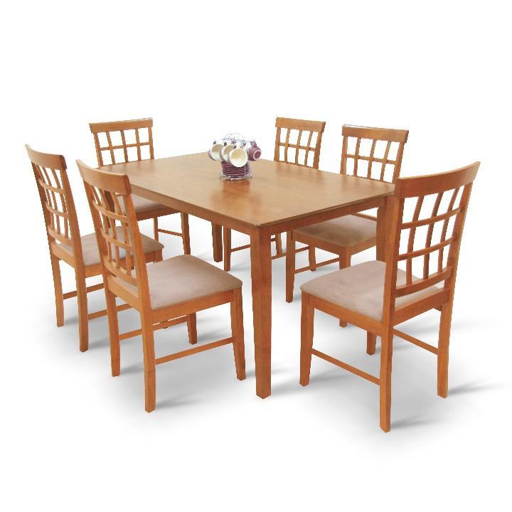<![CDATA[Jídelní set, jídelní stůl a židle třešeň, látka světle hnědá, GRID 1+6 Tempo Kondela]]>