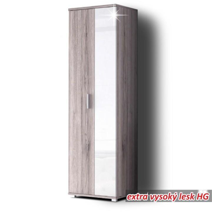 <![CDATA[Předsíňová skříň, vysoký bílý lesk, dub, RACHEL 1 Tempo Kondela]]>