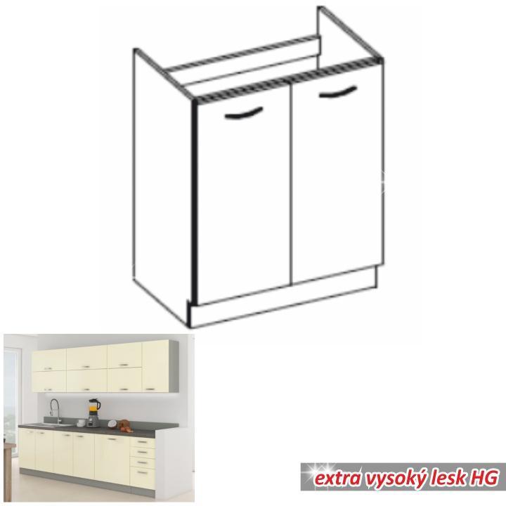 <![CDATA[Skříňka kuchyňská spodní dřezová, krém vysoký lesk, PRADO 80 ZL 2F BB Tempo Kondela]]>