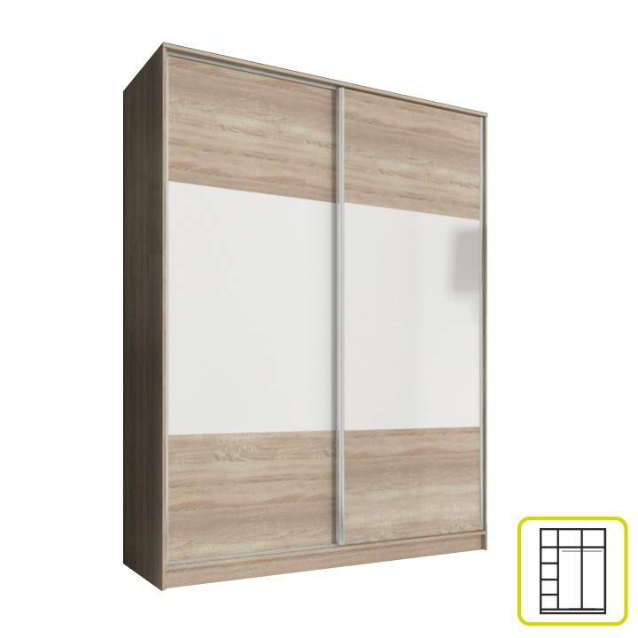 <![CDATA[Šatní skříň s posuvnými dveřmi 160, dvoudveřová, dub sonoma,bílá, AVA Tempo Kondela]]>
