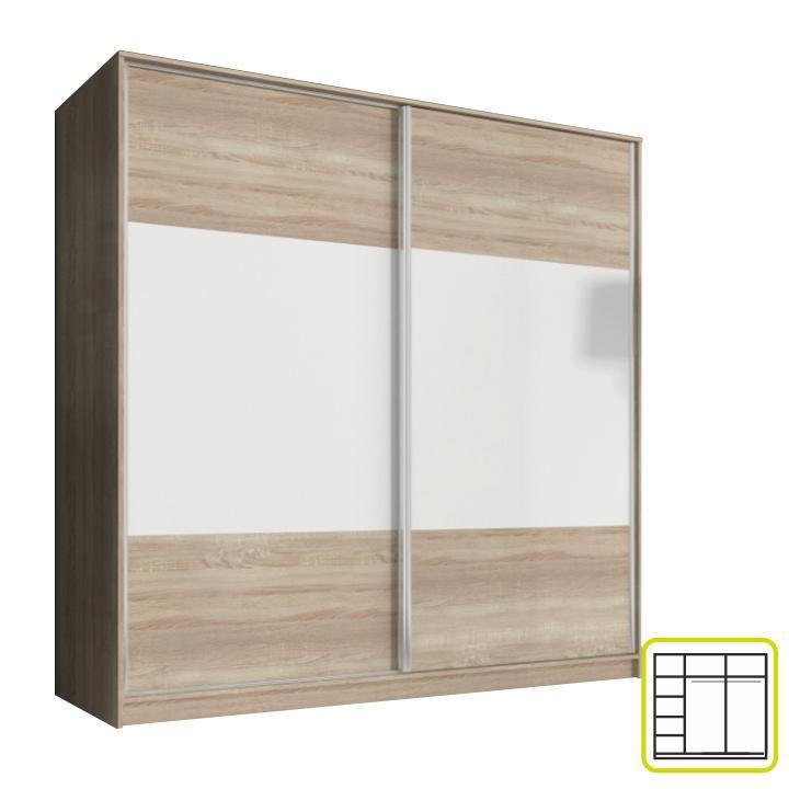 <![CDATA[Skříň, kombinovaná dvoudveřová šatní s posuvnými dveřmi, dub sonoma Tempo Kondela]]>