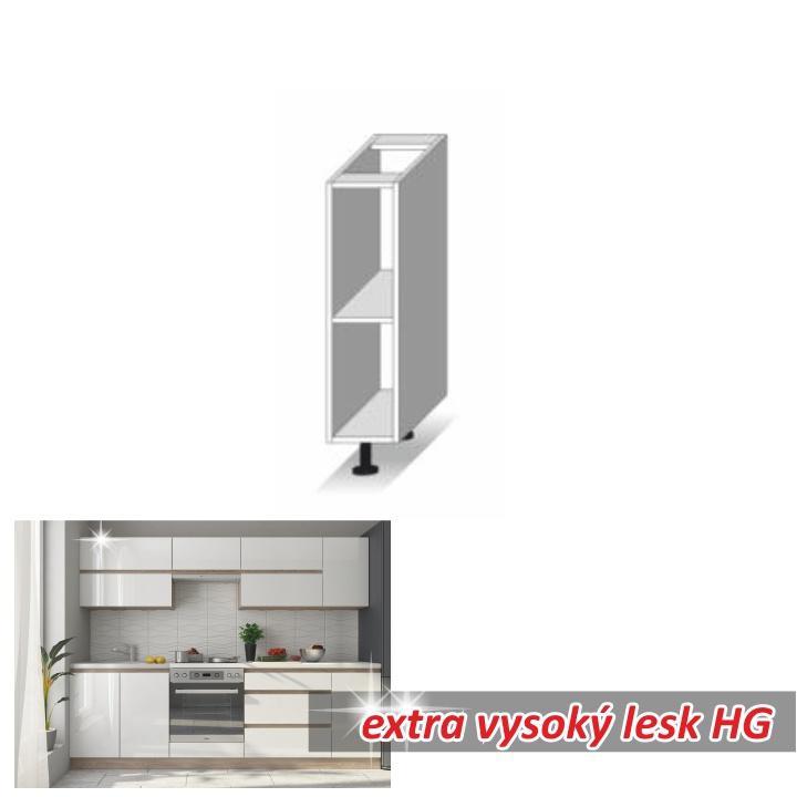 <![CDATA[Kuchyňská skříňka, dolní otevřená, bílý vysoký lesk HG, LINE WHITE Tempo Kondela]]>