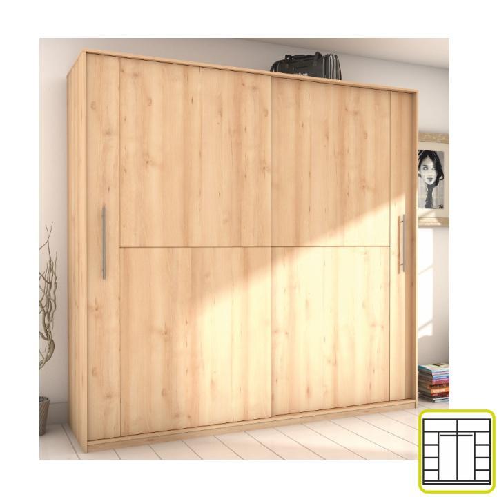 <![CDATA[Skříň, dvoudveřová kombinovaná, šířka: 220 cm, buk iconic, Rombo CO-22 Tempo Kondela]]>
