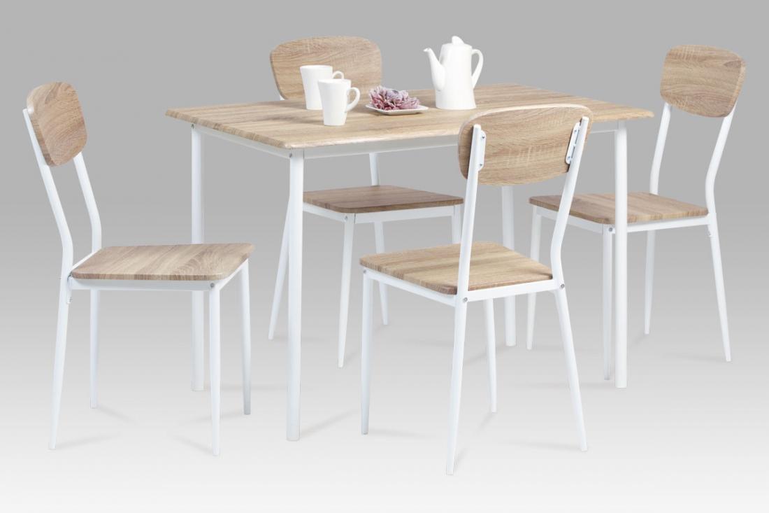 <![CDATA[Jídelní set 1+4, jídelní stůl a židle JUSTIN SON bílá Autronic]]>