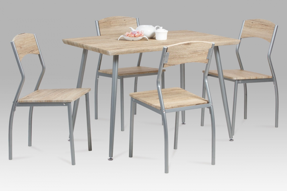 <![CDATA[Jídelní set 1+4, jídelní stůl a židle JIMMY SRE sonoma / stříbrná Autronic]]>