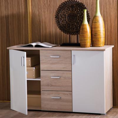 <![CDATA[Komoda, prádelník, 2 dveře, 3 šuplíky, dub, bílá Idea]]>