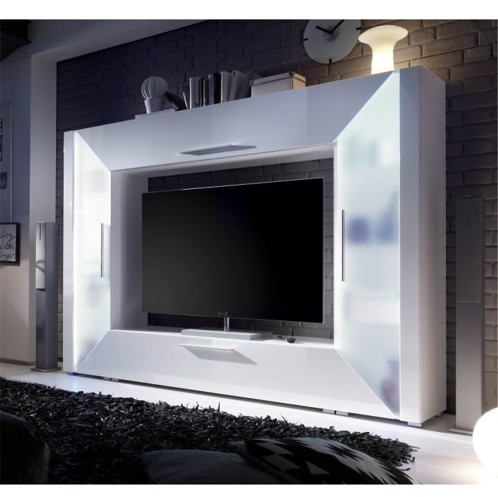 <![CDATA[Obývací TV stěna a media stěna s vysokým leskem, bílá, EDGE Tempo Kondela]]>