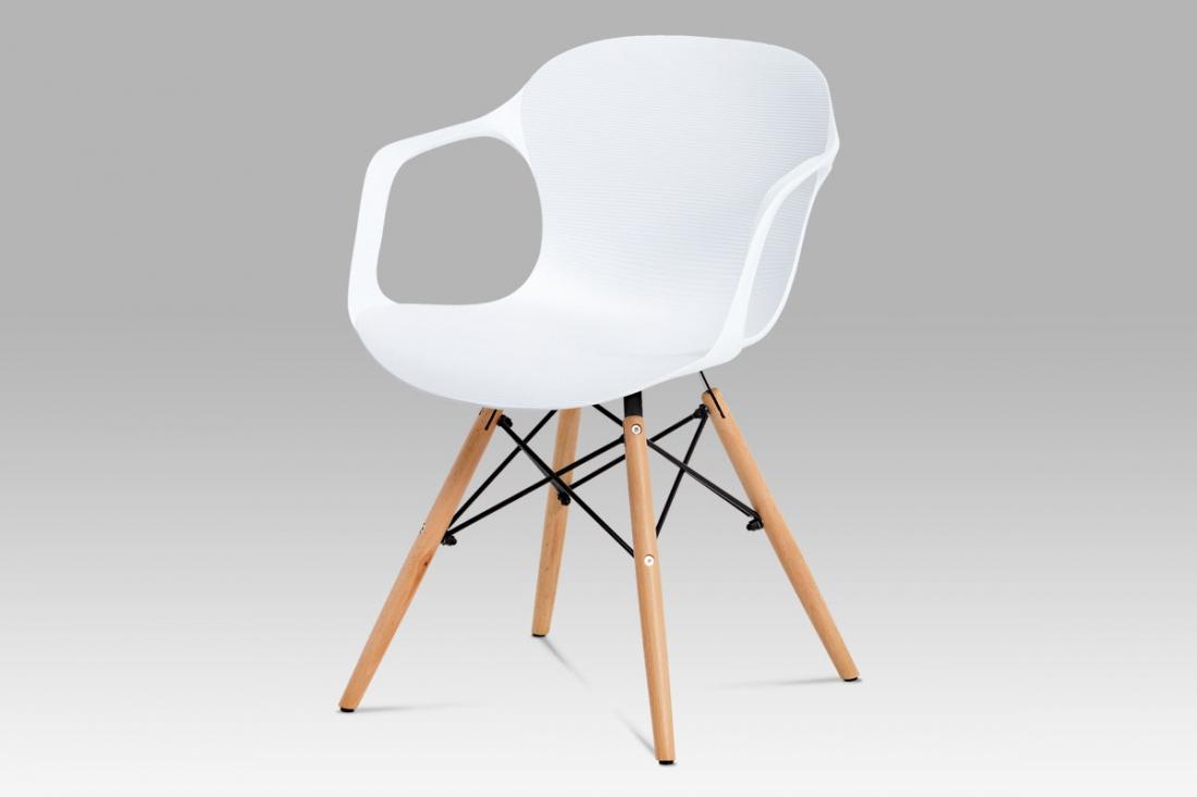 <![CDATA[Jídelní židle plast bílá / natural, ALBINA WT Autronic]]>