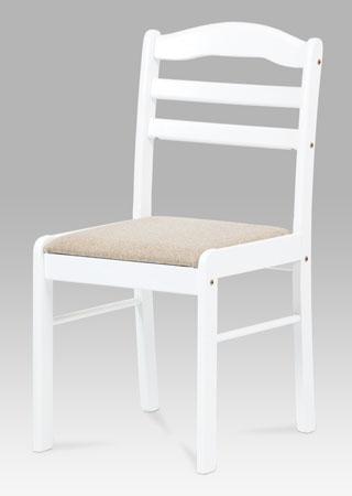 <![CDATA[Jídelní židle, barva bílá, sedák béžový Autronic]]>