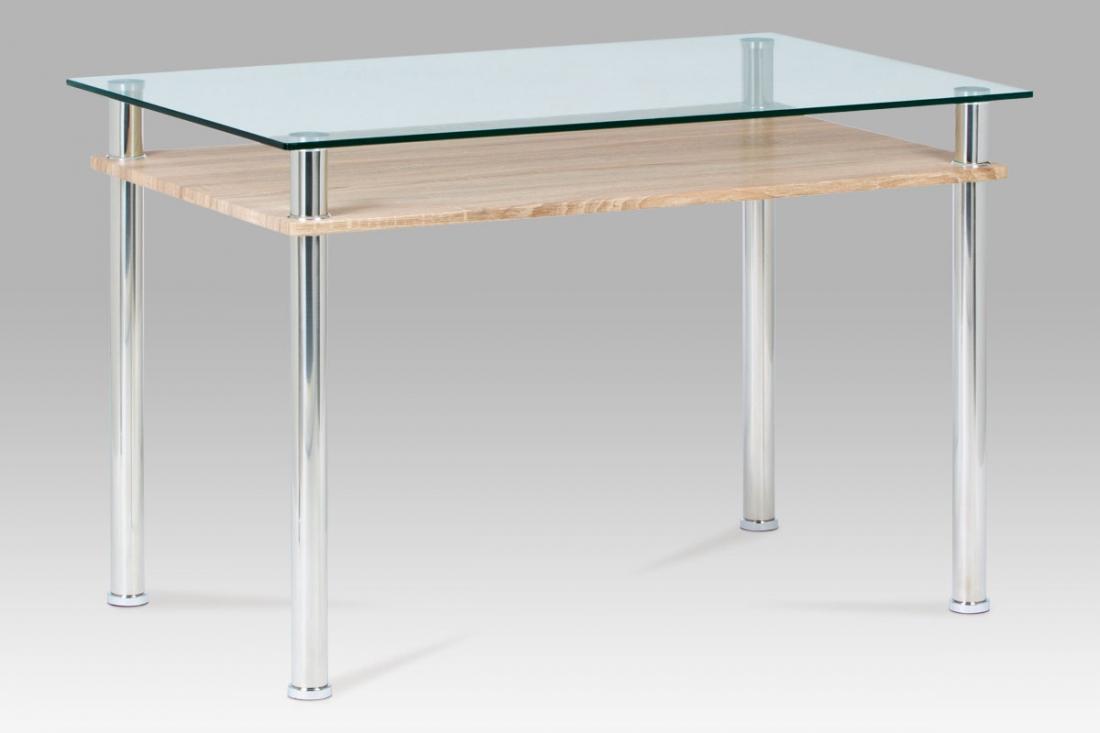 <![CDATA[Jídelní stůl skleněný / sonoma / leštěný nerez, GDT-612 SON Autronic]]>