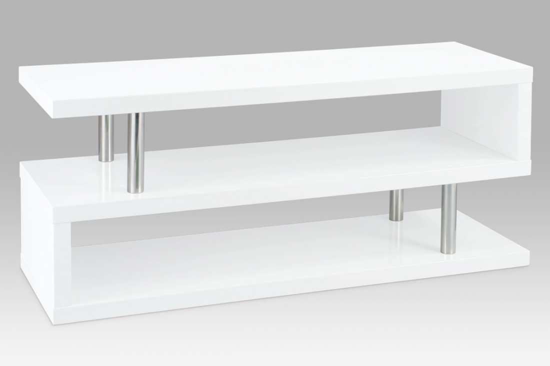 <![CDATA[TV stolek 120x40x50 cm, vysoký lesk bílý / chrom Autronic]]>