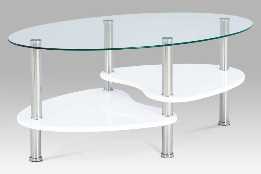 <![CDATA[Konferenční stolek bílý / sklo / nerez Autronic]]>