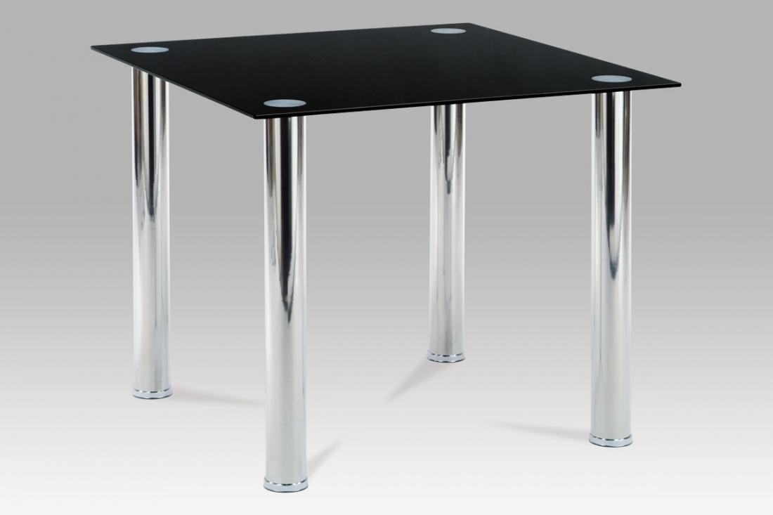 <![CDATA[Jídelní skleněný stůl AT-1014 BK chrom / černý Autronic]]>