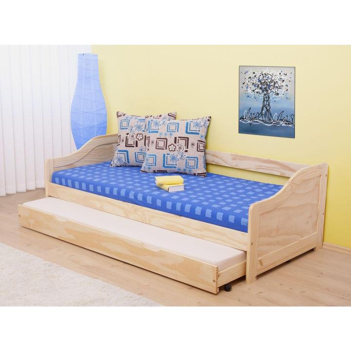 <![CDATA[Rozkládací postel 200x90 s výsuvnou přistýlkou, Laura, borovice Tempo Kondela]]>