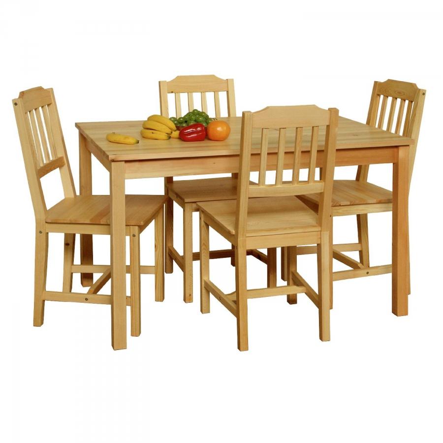 <![CDATA[Jídelní set, jídelní stůl + 4 židle z borovice 8849 Idea]]>