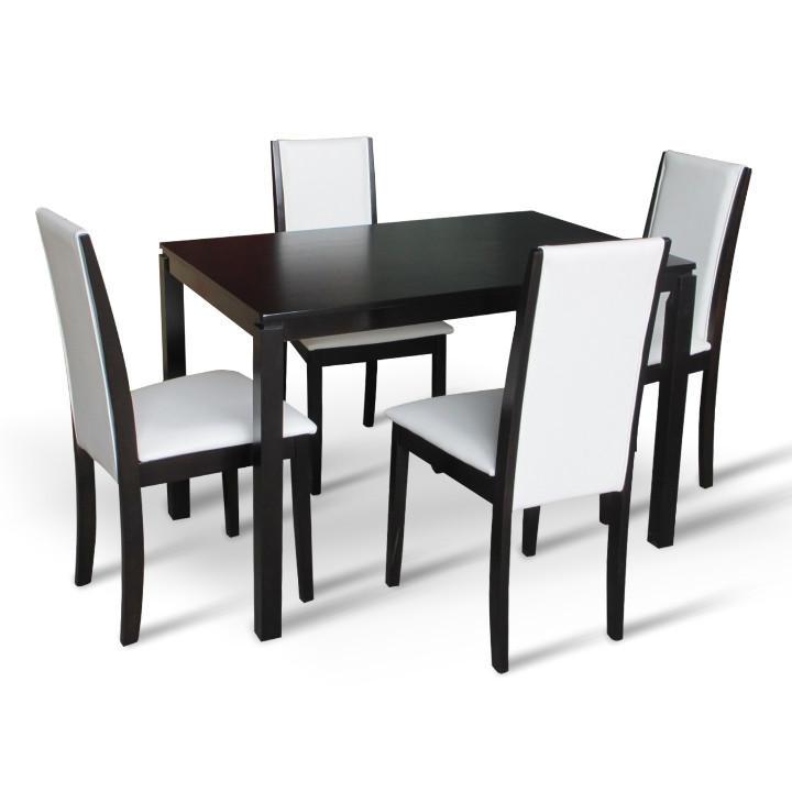 <![CDATA[Jídelní set, jídelní stůl a židle Venis 1+4, wenge, ekokůže bílá Tempo Kondela]]>
