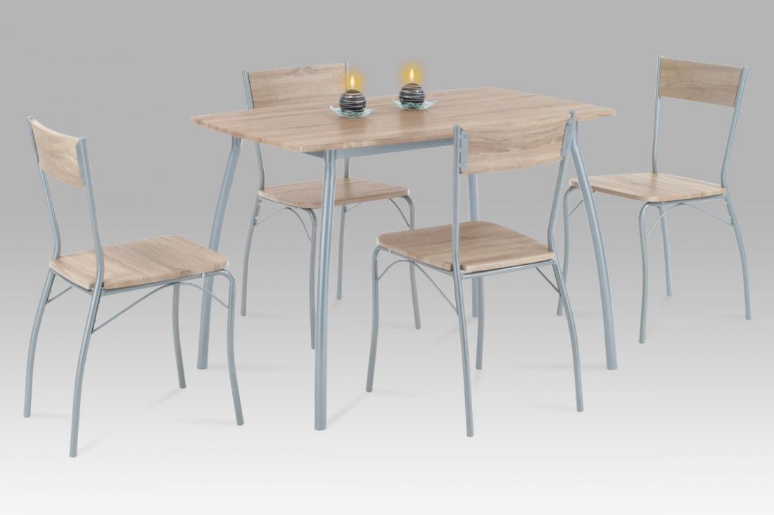<![CDATA[Jídelní set 1+4, jídelní stůl a židle, HANS SON dub sonoma, šedý lak Autronic]]>