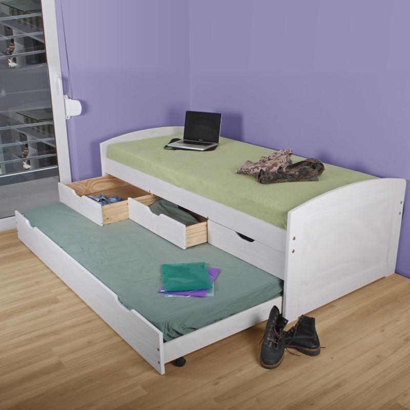 <![CDATA[Zvýšená postel Marinella 8806B s přistýlkou 90x200 bílá borovice Idea]]>