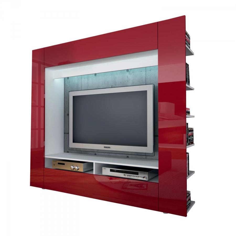 <![CDATA[Televizní ( obývací ) stěna OLIVIE bílá / lesklá červená Idea]]>