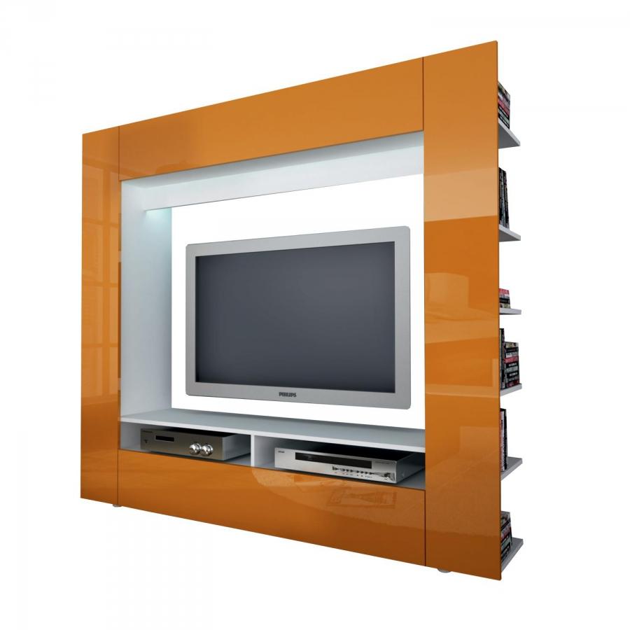 <![CDATA[Televizní ( obývací ) stěna OLIVIE bílá / lesklá oranžová Idea]]>