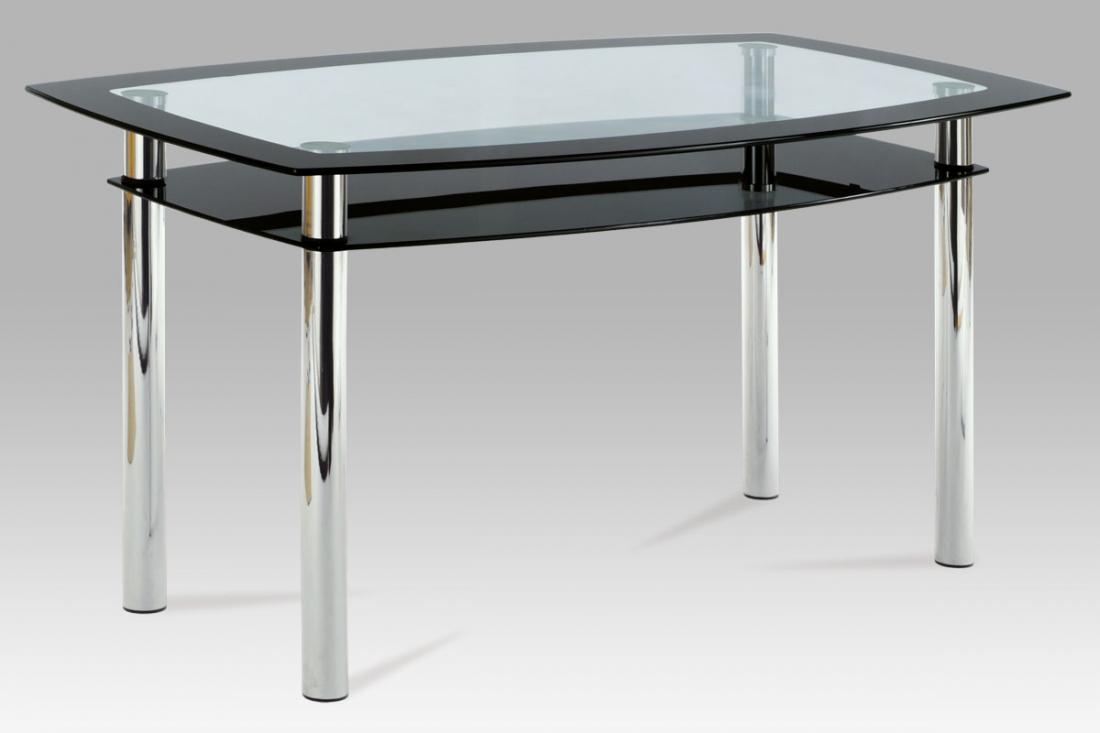 <![CDATA[Jídelní skleněný stůl AT-1012 BK černé sklo / chrom Autronic]]>