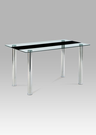 <![CDATA[Jídelní skleněný stůl AT-1045 BK černé čiré sklo / chrom Autronic]]>