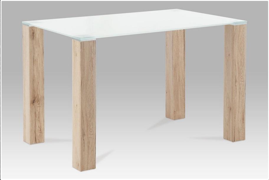 <![CDATA[Jídelní skleněný stůl AT-1055 SRE bílé sklo / san remo Autronic]]>